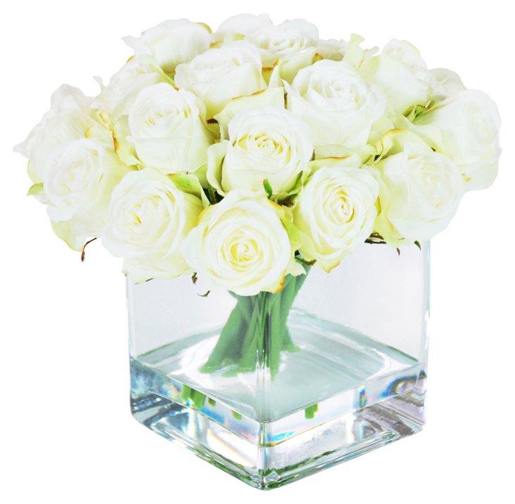 """9"""" Rosebuds in Glass Vase, Faux"""