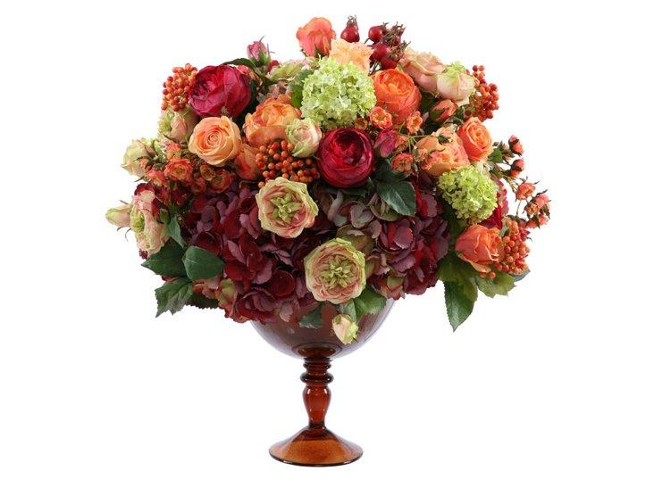 Rose & Hydrangea in Dinos Glass Vase