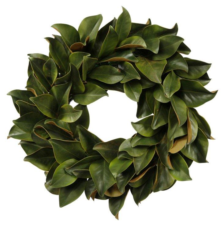 """24"""" Magnolia Leaf Wreath, Faux"""