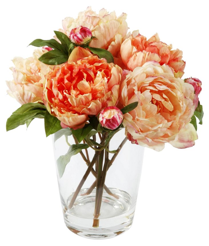 """14"""" Peony in Vase, Faux"""