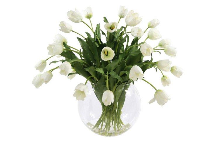"35"" Tulips in Glass Vase, Faux"