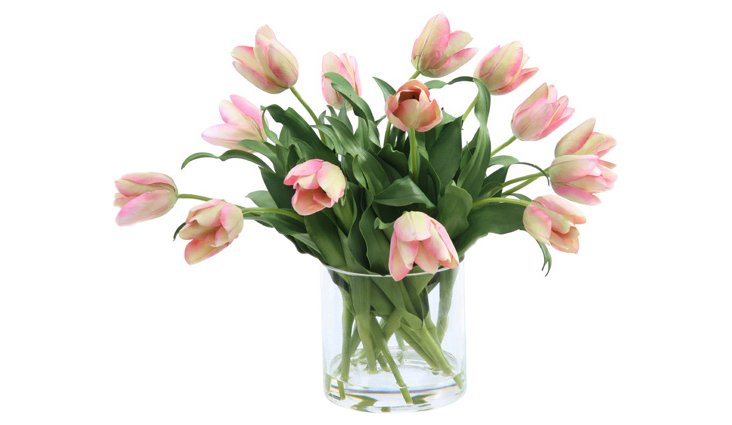 "21"" Tulips in Glass Vase, Faux"