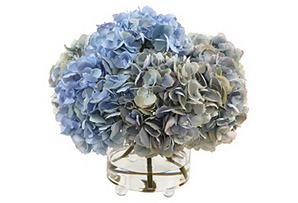 "15"" Hydrangea in Glass Vase, Blue*"