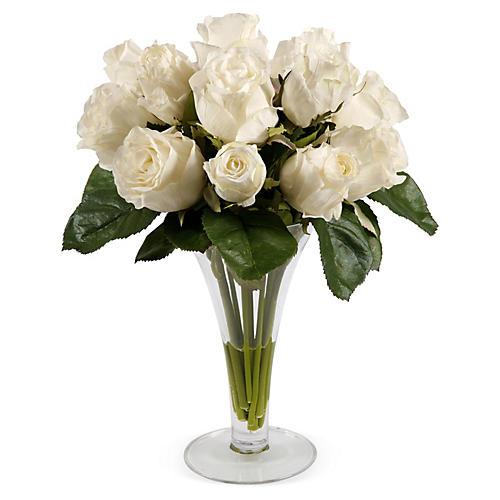 "14"" Roses in Trumpet Vase, Faux"