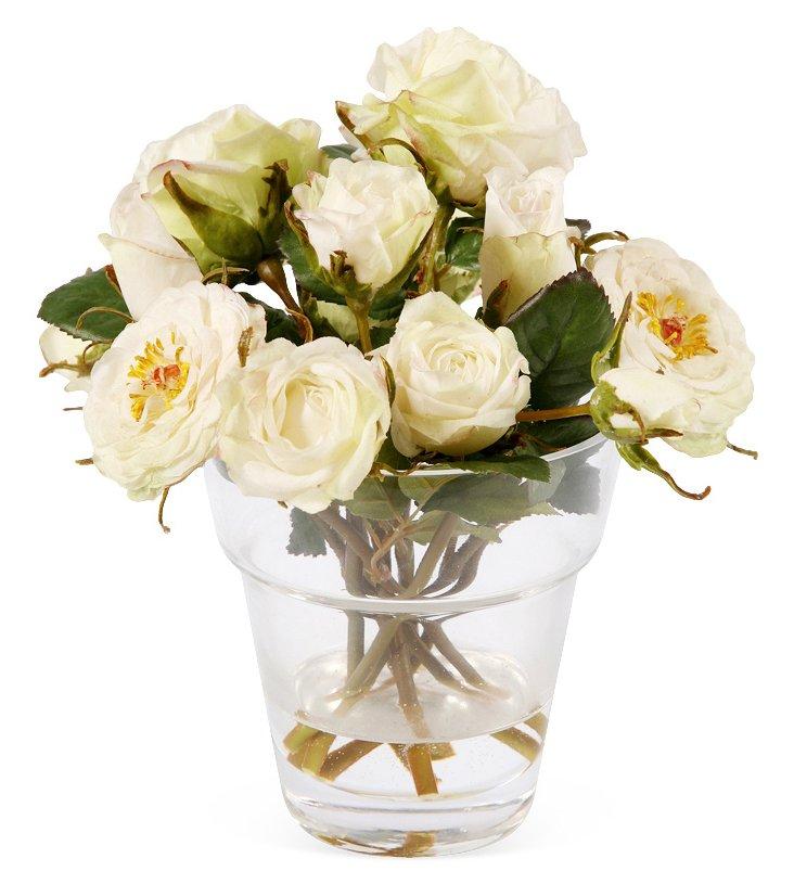 """8"""" Roses in Glass Vase"""