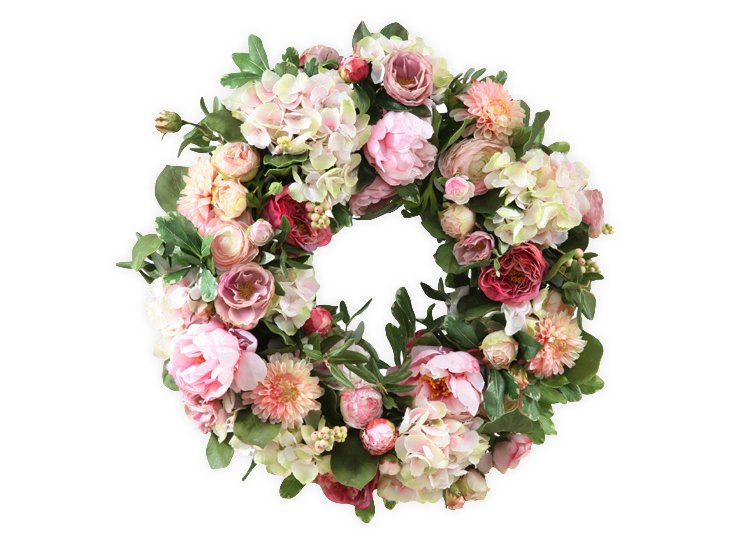 "24"" Peony & Hydrangea Wreath, Faux"