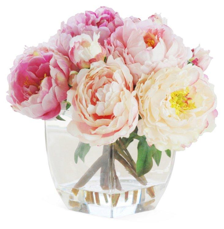 "14"" Peonies in Glass Vase, Faux"
