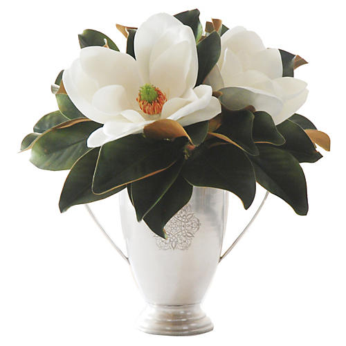 "17"" Magnolia in Metal Planter, Faux"