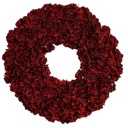 "30"" Hydrangea Wreath, Red"