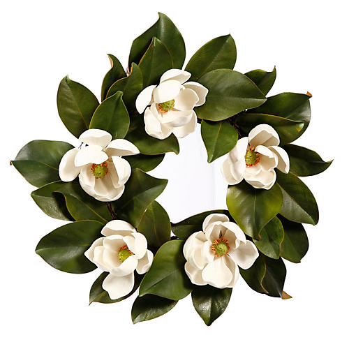 "16"" Magnolia Wreath, White"