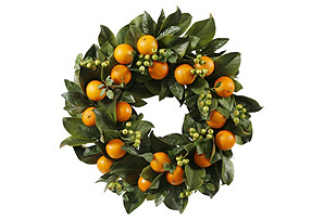 "24"" Oranges Wreath, Faux"
