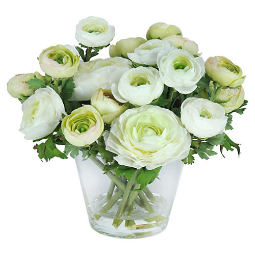 "10"" Ranunculus in Vase, Faux"