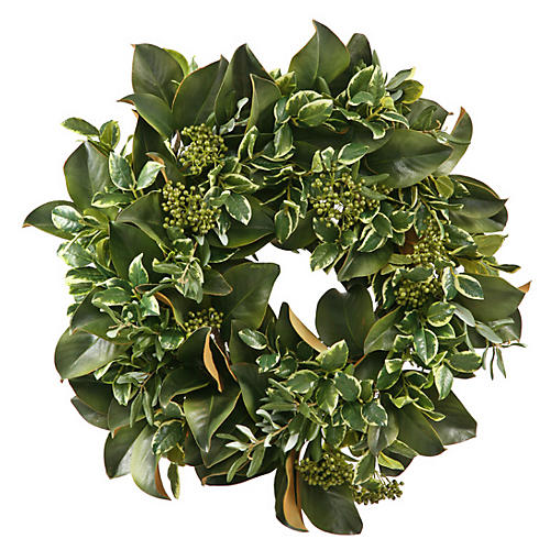 "24"" Magnolia Leaf Wreath, Faux"
