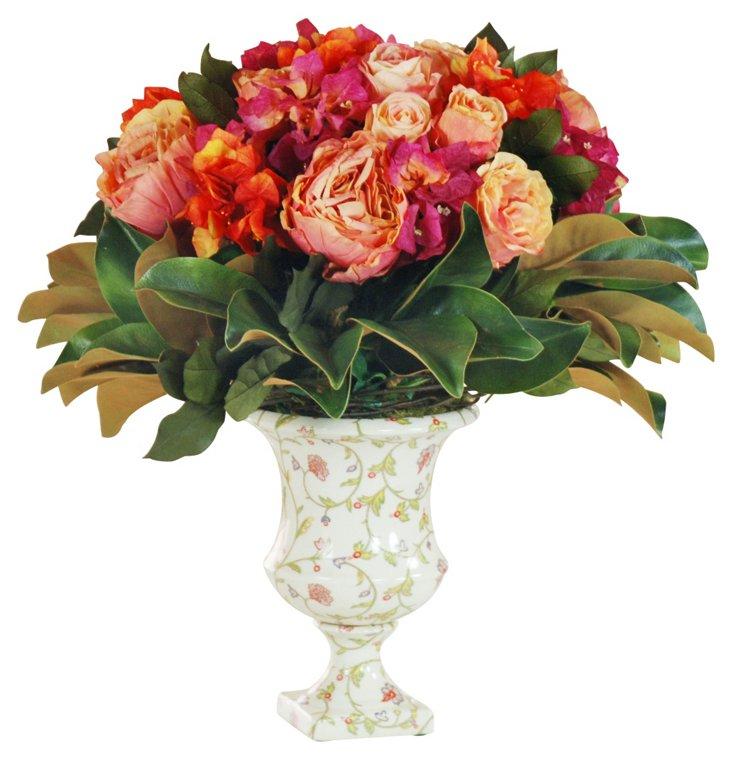 "21"" Rose & Magnolia Centerpiece, Faux"