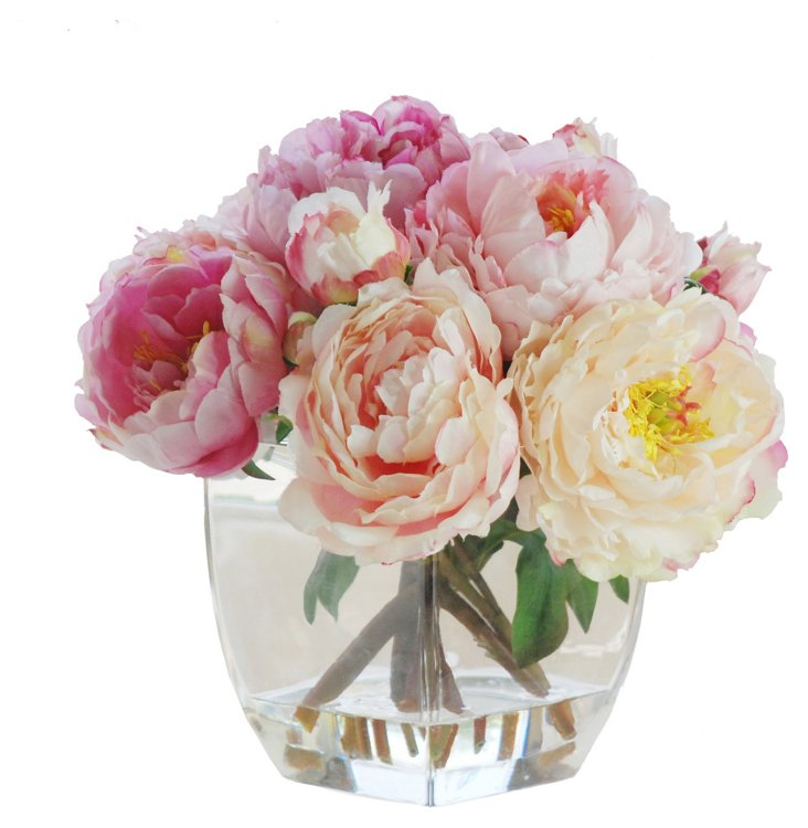 14'' Peony in Glass Vase, Faux