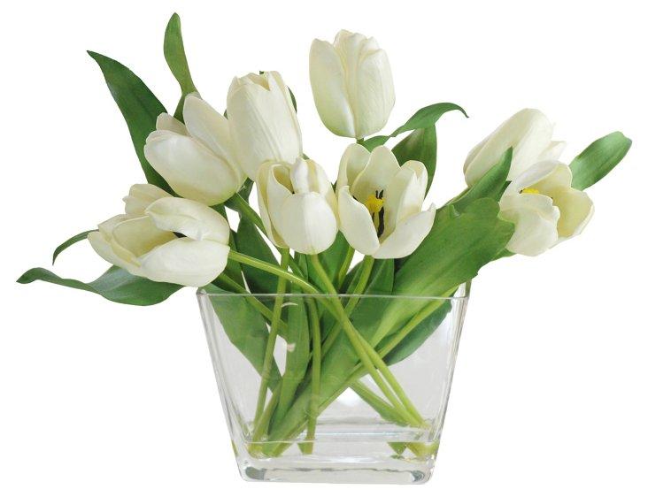 17'' Tulip in Glass Vase, Faux