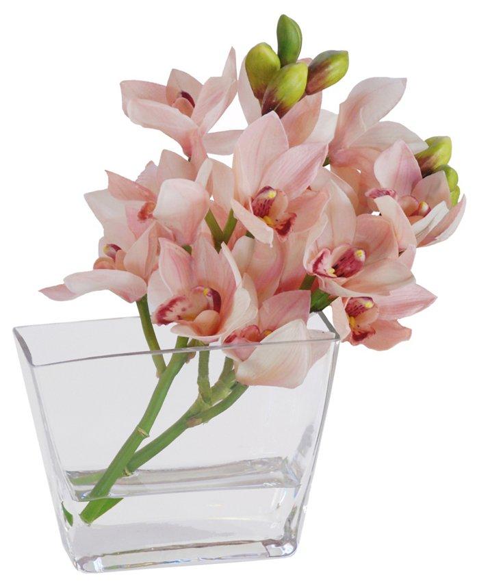 15'' Cymbidium Orchid in Vase, Faux