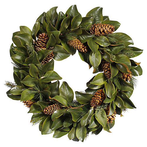 "30"" Magnolia Leaf Wreath, Faux"