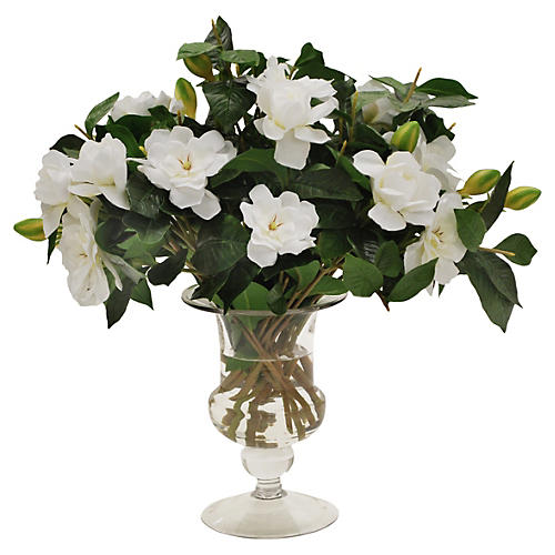 "17"" Gardenia in Glass Vase in"