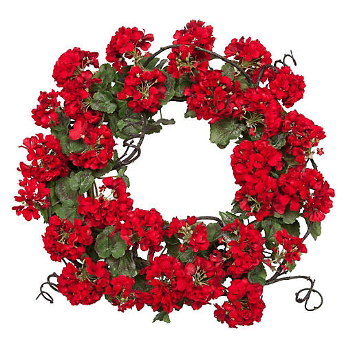 "24"" Geranium Wreath, Faux"