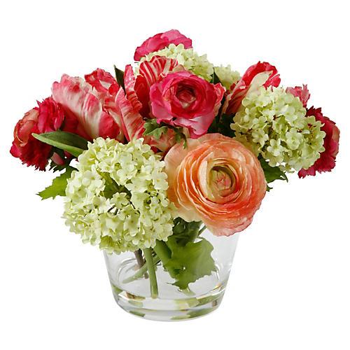 """9.5"""" Spring Rose Arrangement , Faux"""