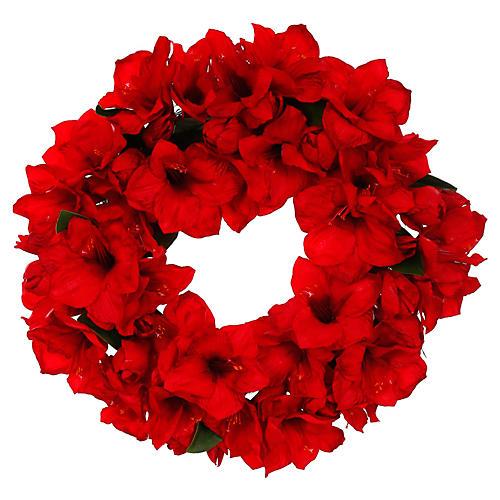 """26"""" Amaryllis Wreath, Faux"""
