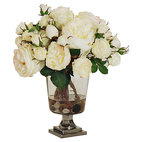 "14"" Rose Arrangement in Vase, Faux"
