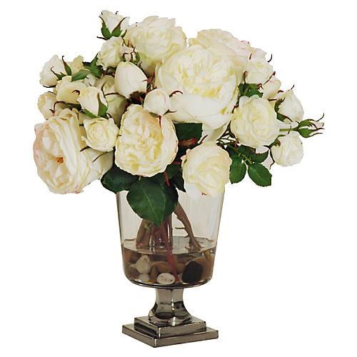 "14"" Rose Arrangement in Vase, Faux"