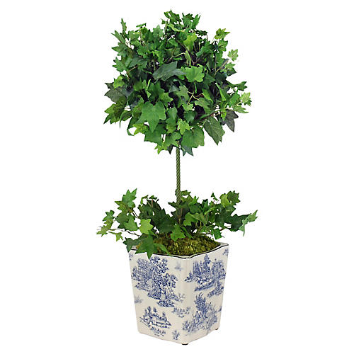 """28"""" Ivy Square Faux Topiary, Green"""