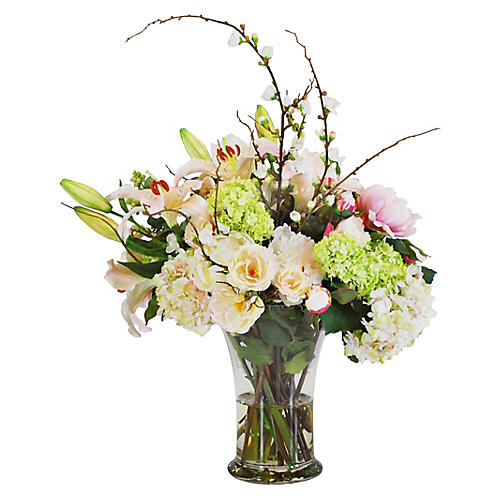 "20"" Mixed Floral Flared Arrangement, Faux"
