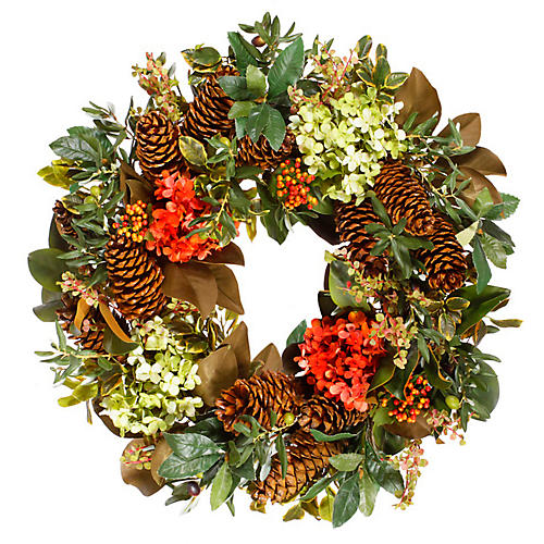 """30"""" Hydrangea Wreath, Faux"""