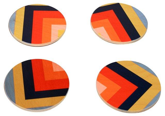 Summer Squaresville Coasters, Set of 4