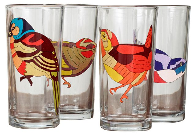 Birds Nest Glasses, Set of 4