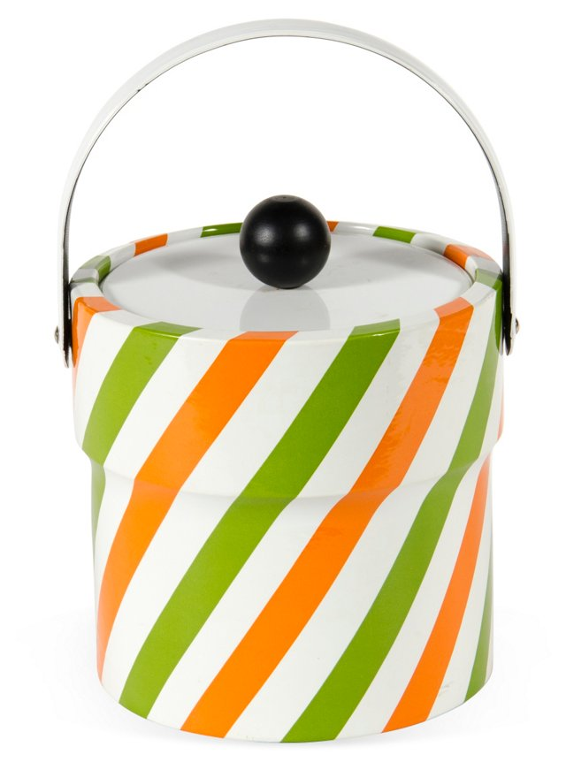 Candy-Striped Ice Bucket