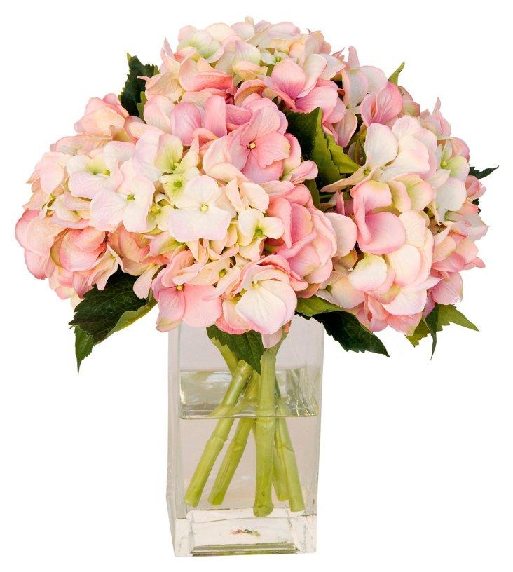 """15"""" Hydrangeas in Cube Vase, Faux"""