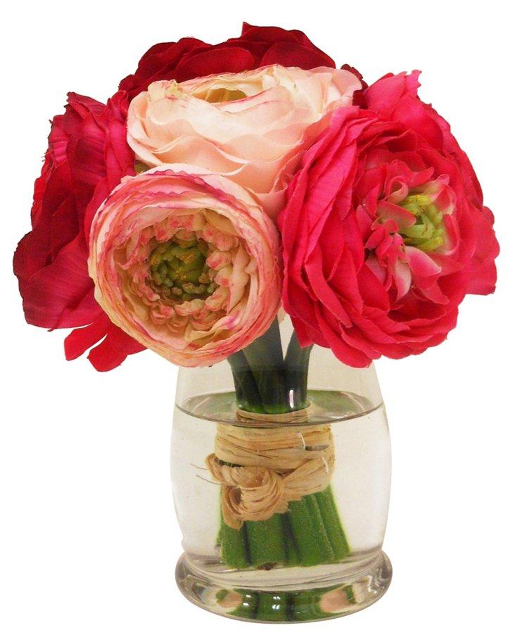 "7"" Ranunculus in Hourglass, Faux"