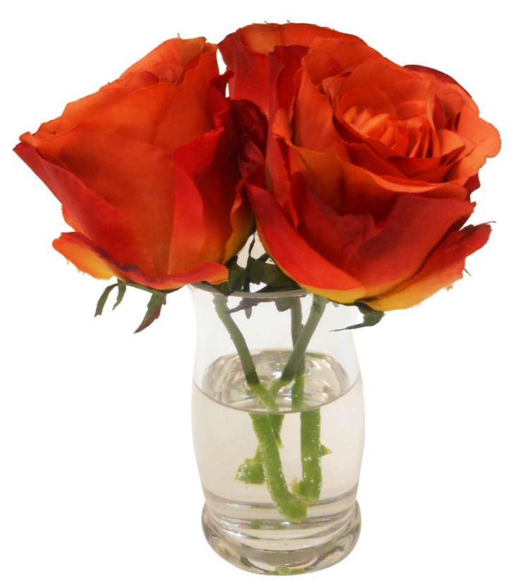 Roses in Hourglass Vase, Rust