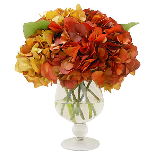 "16"" Fall Hydrangea in Urn, Faux"