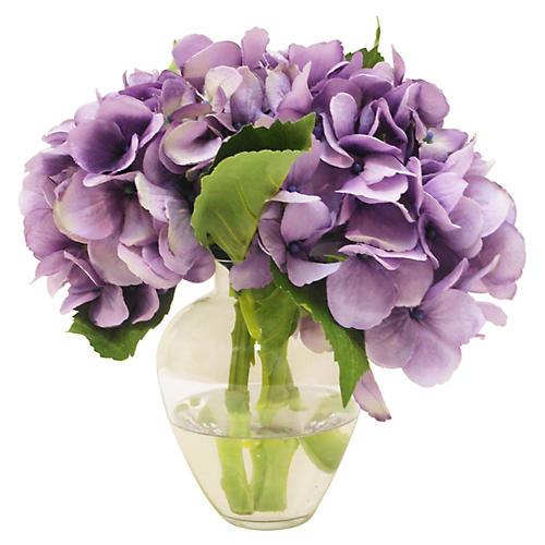 "9"" Hydrangea in Garden Vase, Faux"