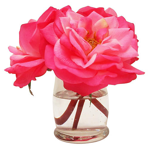 "7"" Bloomed Roses in Hourglass Vase, Faux"