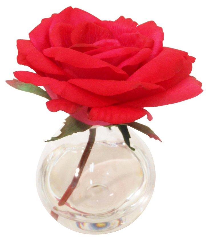 "7"" American Beauty Rose in Vase, Faux"