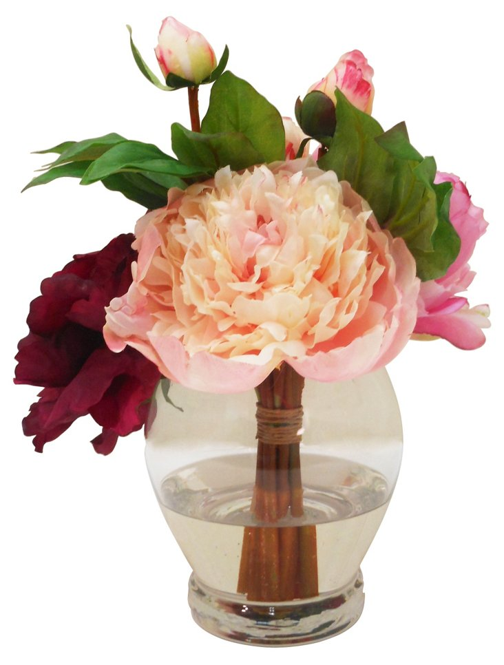 Mixed Peony Bundle in Tall Rose Bowl