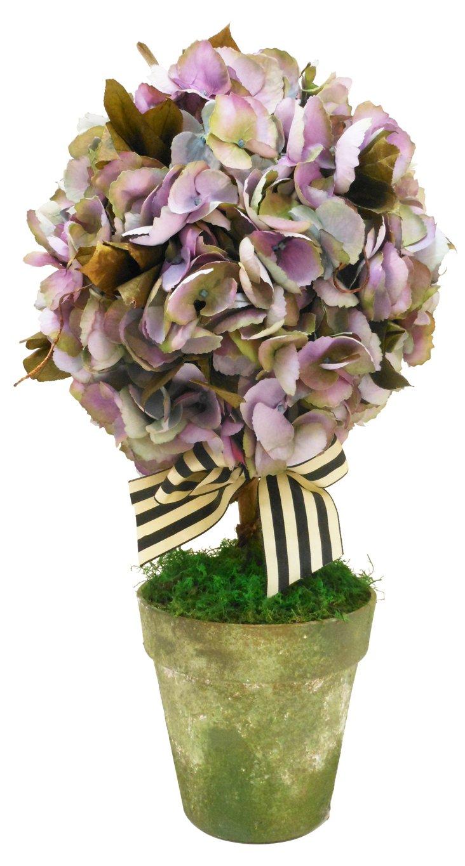 Hydrangea Topiary in Green Pot, Purple