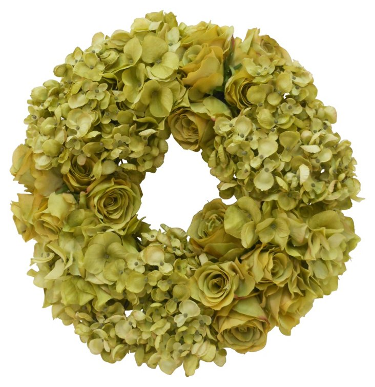"16"" Hydrangea & Rose Wreath, Faux"