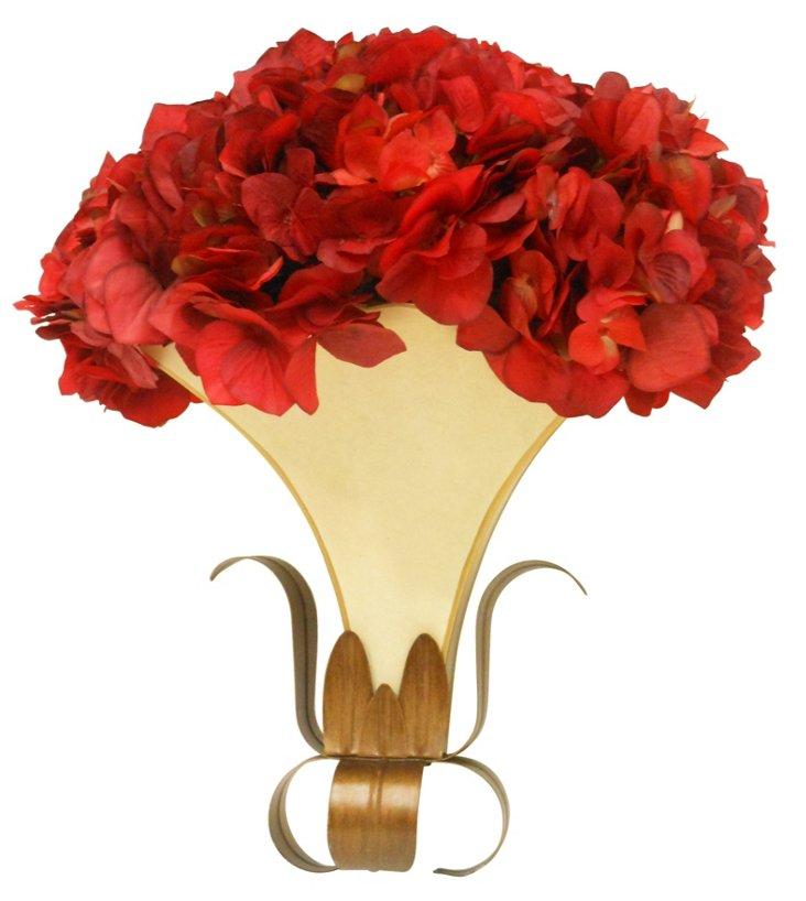 Cream Wall Pocket w/ Red Hydrangea