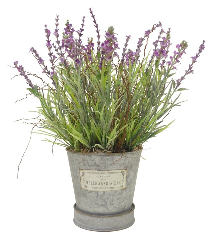 """16"""" Lavender Bunch in Tin, Faux"""