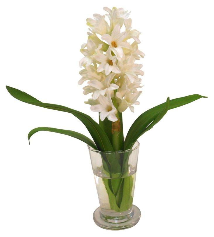 "11"" Hyacinth in Parfait Vase, White"
