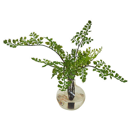 "14"" Maidenhair Fern in Vase, Faux"