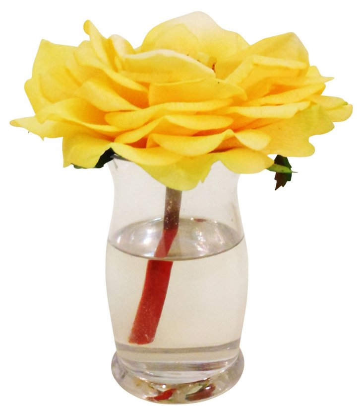 "9"" Rose in Hourglass Vase, Yellow"