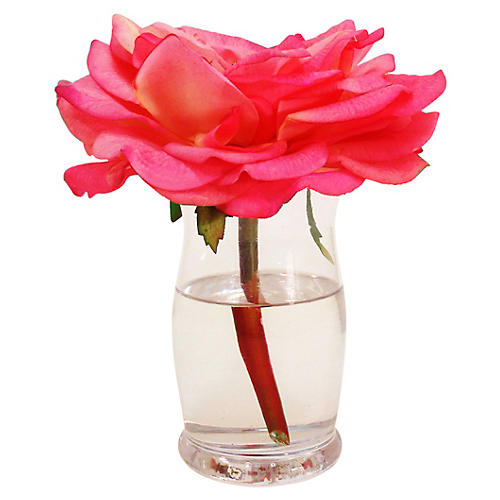 "9"" Rose in Hourglass Vase, Pink"